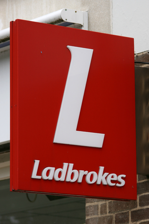 town centre: Ladbrokes bookmakers sign in town centre of Braintree, Essex, England