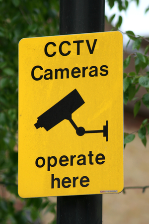 town centre: CCTV camera sign in Braintree Town centre Stock Photo