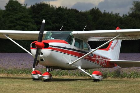 cessna: G-BHUJ Cessna 172 parked at Rayne Airfield near Braintree, Essex, England Editorial