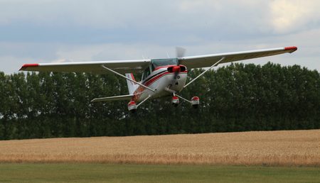 essex: G-BHUJ Cessna 172 taking off from Rayne Airfield near Braintree, Essex, England Editorial
