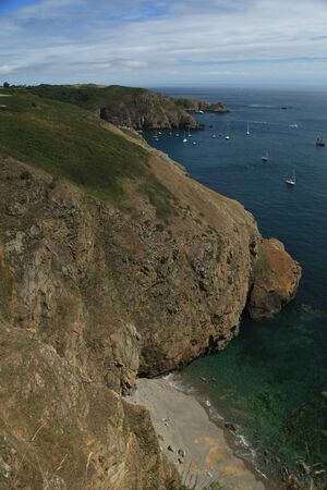 Coastal scenery and beach on Sark in the Channel Islands
