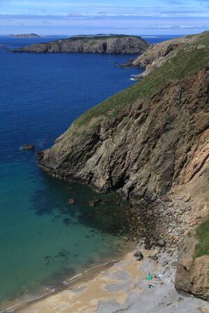 sark: Coastal scenery and beach on Sark in the Channel Islands
