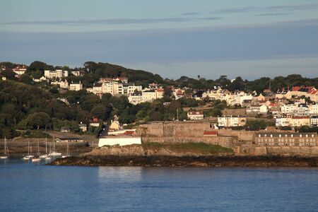 cornet: Castle Cornet and the town of St Perter Port on Guernsey in the Channel Islands