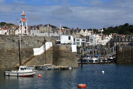 guernsey: Harbour and town of St Peter Port on Guernsey in the Channel Islands Editorial