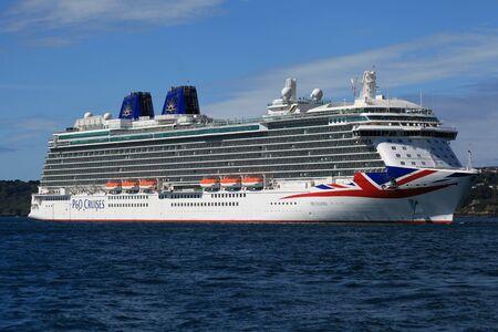 guernsey: MV Britannia moored off Guernsey in August 2015