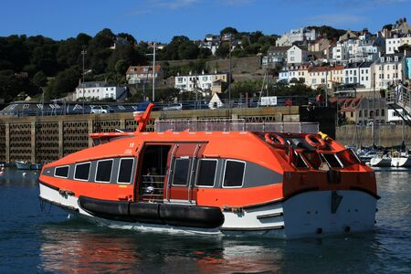 britannia: MV Britannia tender approaches St Peter Port in Guernsey in the Channel Islands
