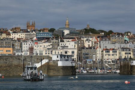 Town and harbour of St Peter Port on Guernsey in the Channel Islands