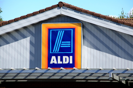 Aldi supermarket store sign, Southend on Sea, Essex