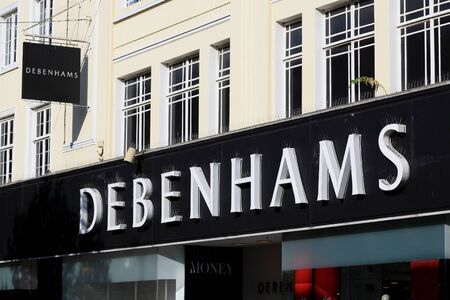 store sign: Debenhams department store sign, High Street, Chelmsford, Essex Editorial