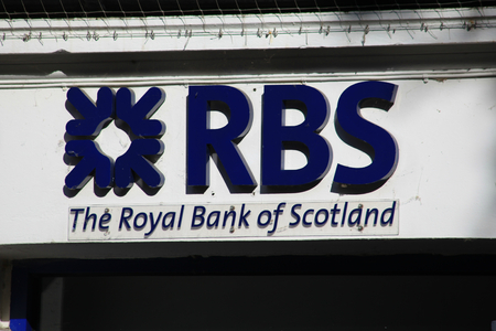 essex: Royal Bank of Scotland branch sign, High Street, Chelmsford, Essex