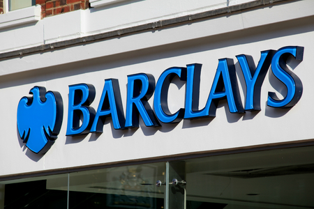 Barclays Bank branch sign, High Street, Chelmsford, Essex
