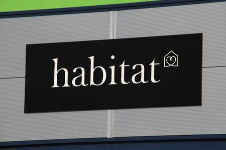 habitat: Habitat store sign, Harlow, Essex Editorial