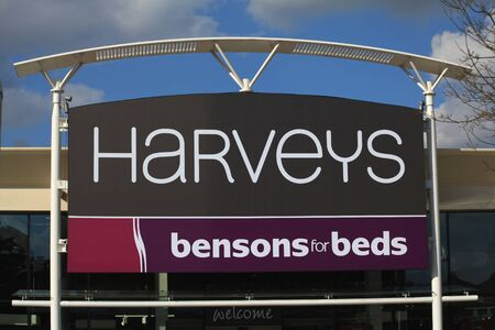 store sign: Harveys and Bensons for Beds store sign, Harlow, Essex