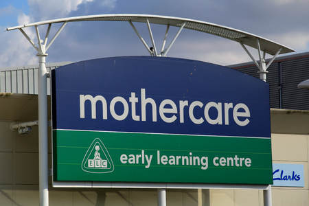 mothercare: Mothercare and Early Learning Centre store sign, Harlow, Essex Editorial