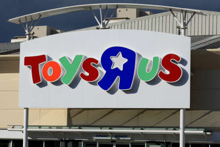 essex: Toys r Us store sign, Harlow, Essex Editorial