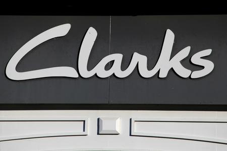 footware: Clarks shoe shop sign, Braintree, Essex Editorial