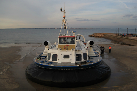 hovercraft: Ryde to Portsmouth passenger hovercraft about to leave Ryde, Isle of Wight Editorial