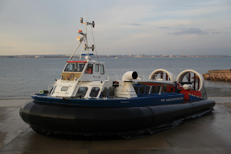 hovercraft: Ryde to Portsmouth passenger hovercraft leaves Ryde, Isle of Wight Editorial