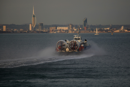 isle: Ryde to Portsmouth passenger hovercraft leaves Ryde, Isle of Wight Editorial