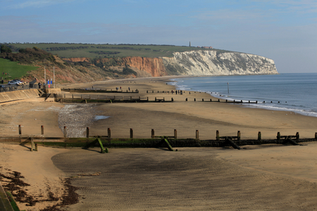 wight: Yaverland beach and cliffs, Isle of Wight