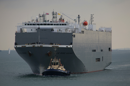 escorted: Blue Ridge Highway, a vehicle carrier, being escorted in the Solent, north of the Isle of Wight