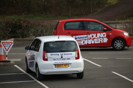 olds: Young Driver driving lessons for 11 to 17 year olds held at Bluewater, Kent, England