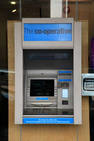 operative: Co operative Bank cashpoint machine, Chelmsford, Essex, England