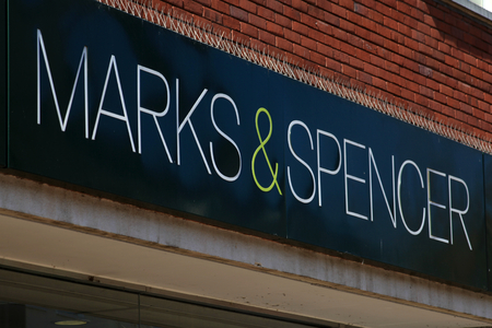 Marks and Spencer shop sign, High Street, Chelmsford, Essex, England Editorial