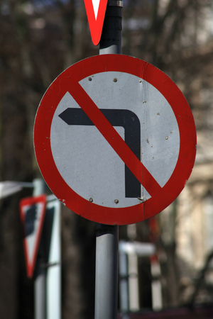 essex: No left turn traffic sign, Chelmsford, Essex, England Stock Photo