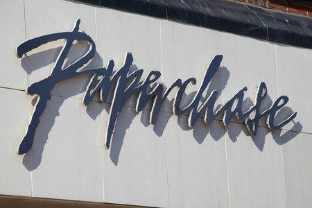 essex: Paperchase shop sign, High Street, Chelmsford, Essex, England Editorial