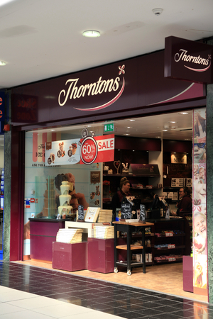 luxuries: Thorntons shop, Chelmsford, Essex, England