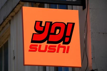 yo: Yo Sushi shop sign, High Street, Chelmsford, Essex, England Editorial