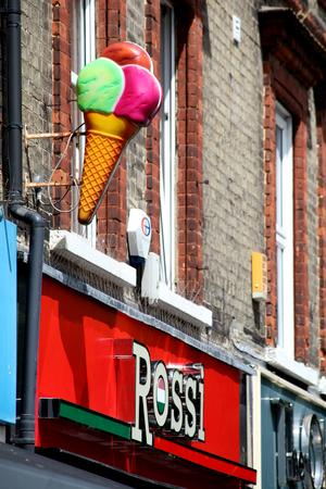 cornet: Rossi shop sign and ice cream cornet, High Street, Brentwood, Essex