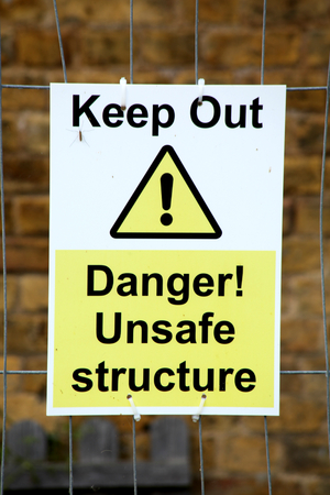 keep out: Keep Out Danger Unsafe structure sign Stock Photo