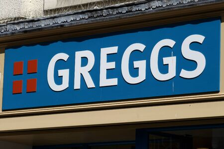shop sign: Greggs Bakery shop sign, Colchester, Essex Editorial