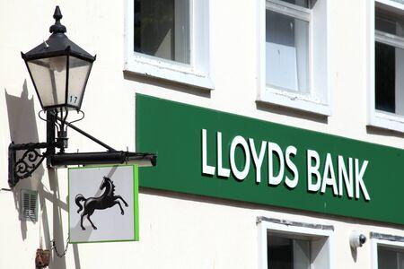 lloyds: Lloyds Bank sign, Colchester, Essex Editorial