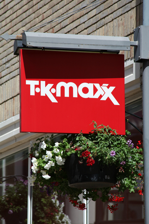 tk: T K Maxx shop sign, Colchester, Essex