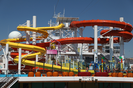 Carnival Vista, inaugural cruise season 2016, waterworks including two water slides Editorial