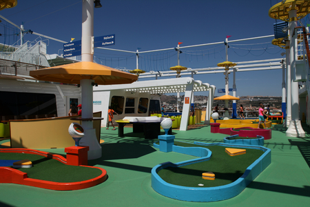 pool tables: Carnival Vista, inaugural cruise season 2016, Sport square including Skyride, crazy golf, rope course and pool tables Editorial