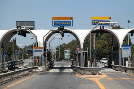 toll: Toll point on road near Messina, Sicily, Italy