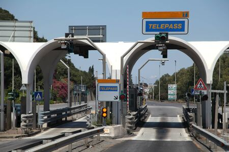 Toll point on road near Messina, Sicily, Italy