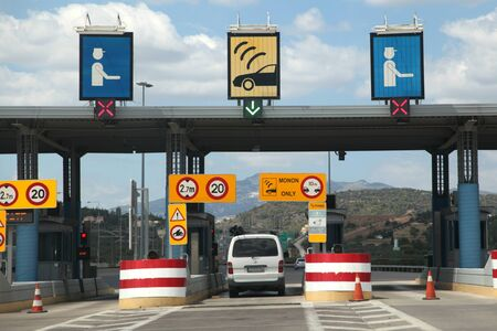 toll: Toll point on motorway near Athens, Greece Editorial