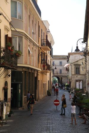 cobbled: Narrow cobbled road of Tarqinia, Italy