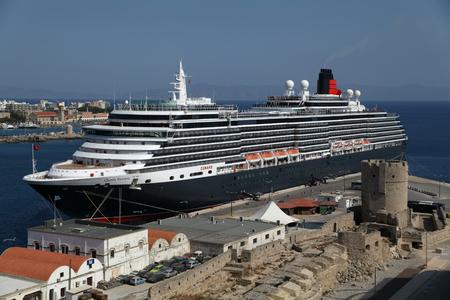 Cruise ship MS Queen Victoria in Port of Rhodes Town, Rhodes, Greece Editorial