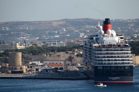 queen victoria: Cruise ship MS Queen Victoria in Port of Rhodes Town, Rhodes, Greece Editorial