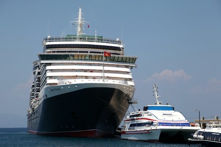 ms: Cruise ship MS Queen Victoria in Port of Rhodes Town, Rhodes, Greece Editorial