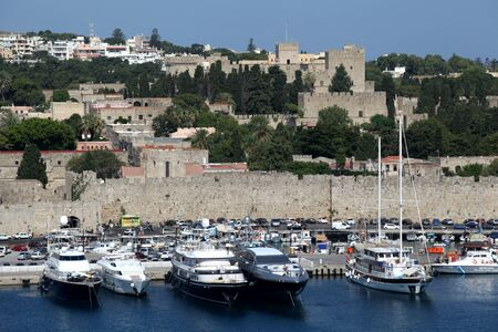 rhodes: Harbour and The Palace of the Grand Master, Rhodes Town, Rhodes, Greece Editorial