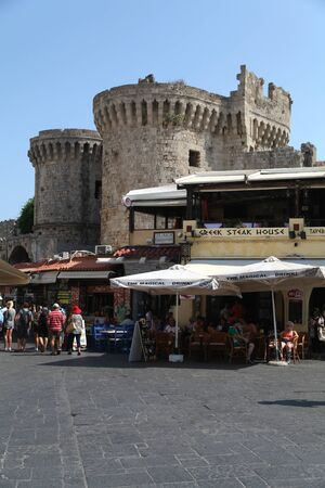 rhodes: Restaurants and shops in the lower area of old Rhodes Town, Rhodes, Greece