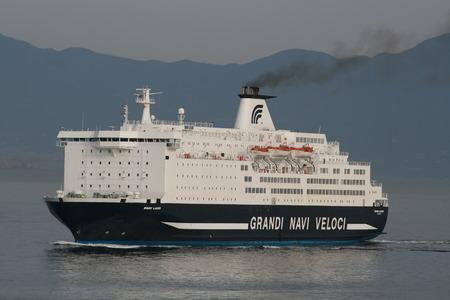 ms: MS Snav Lazio, Grandi Navi Veloci ferry, entering the Port of Naples, Italy