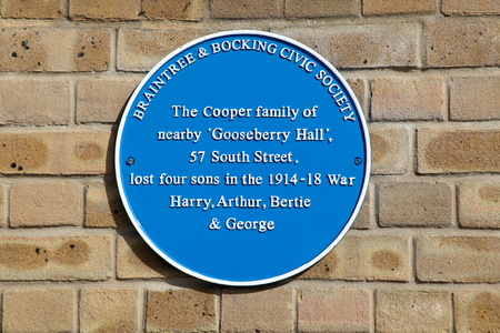 blue plaque: Cooper Family blue plaque, Braintree, Essex